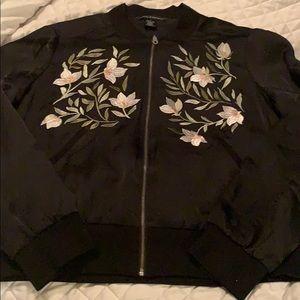 Jackets & Blazers - Black crop jacket with floral detail